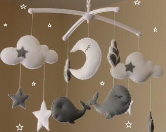 Sale! Whale mobile with clouds and stars grey musical baby whale mobile cloud mobile grey nursery