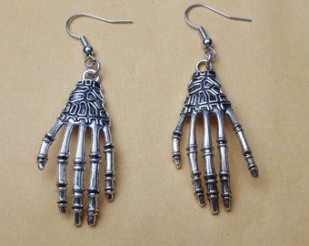 Silver Skeleton Hands Earrings jewelry - Day of the Dead Skull earring