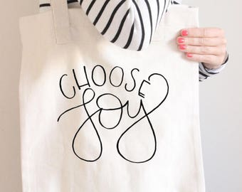 Choose Joy Tote Bag | Handlettering| Tote | Tote Bag | Choose Joy | Gift for Her | Gift for Mom | Reusable Bag | Teacher Tote Bag