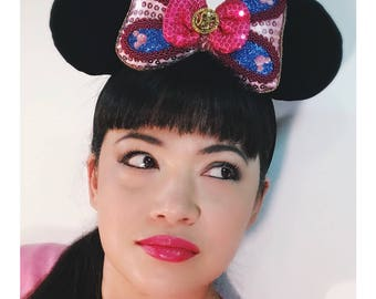 Hua Mulan Mouse Bow- Plush and Puffy, Sized for Interchangeable Mouse Ears Headband