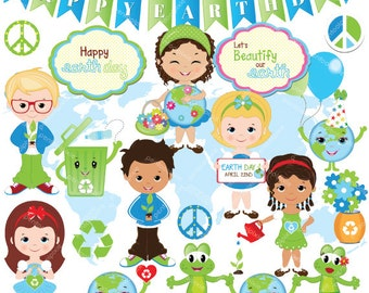 Earth day clipart, Globe, Kids, environmental, educational, Recycle clipart