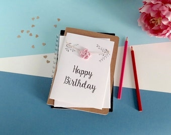 Happy Birthday card - Floral birthday card - Crochet flowers Card - White card