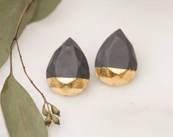 Concrete Teardrop Earrings with Gold Leaf (dark)