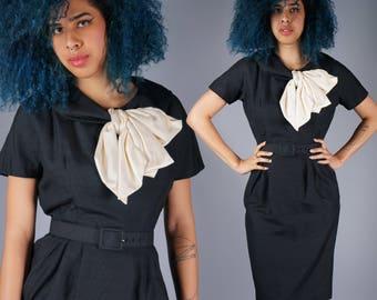 50s Silk Black Dress with Contrasting Cream Bow Tie Neck Ascott Dress Bow Neck Dress Marusia Bazaar 1950s Dress