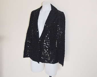 Black Sequin Vintage Jacket