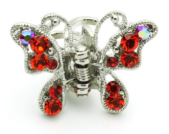 Hand Made Hair Jewelry Butterfly Hair Jaws swarovski crystal Petals Set Of 2 Red(SO5198-rd)