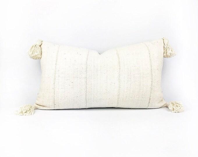 Handmade African Mudcloth Tassel Lumbar Pillow Cover 14x24
