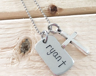 Communion necklace - Catholic jewelry - Cross necklace - Hand stamped necklace - First holy communion - Communion gift - Gift for boy