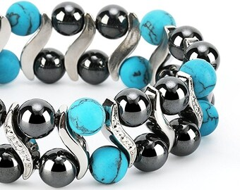 Turquoise Elegant Womens Hematite Magnetic Therapy Healing Stone Bracelet & Ring Set Pain Relief for Arthritis and Carpal Tunnel