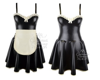 Latex rubber Adore maids dress by cathouse clothing French maid - WRUB1012