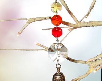 Chakra Crystal Sun Catcher & Christmas Ornament, With Buddha, 1S-90