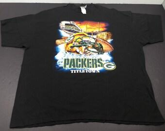 Vintage 90's Green Bay Packers titletown helmet t-shirt mens 3XL NFL Football frozen tundra