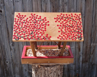 Handmade Wild Bird Feeder, Open Air Bird Feeder in Twigs & RED Winter Berries - Reclaimed Pine Wood and Natural Tree Branches Hanging Feeder