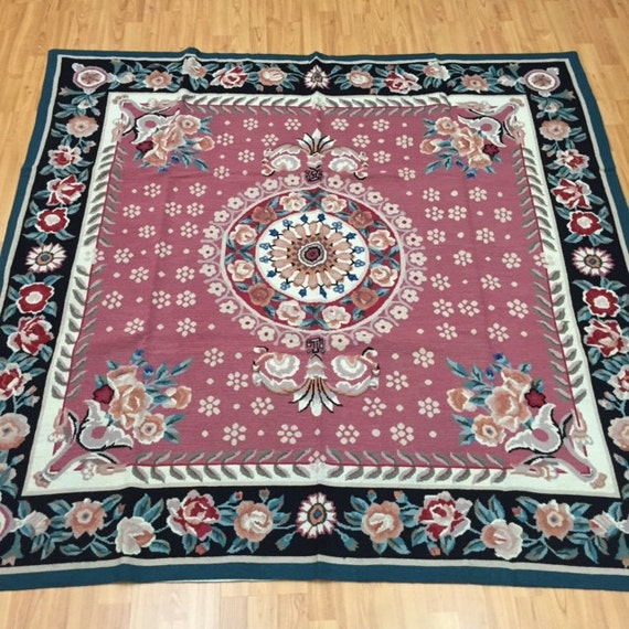 6' x 6' Square Chinese Aubusson Needle Point Oriental Rug - Hand Made - 100% Wool