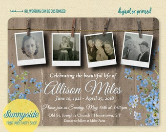 Memorial invitation, celebration of life card with photos, remembrance card, funeral memorial card // printable or printed // forget me nots