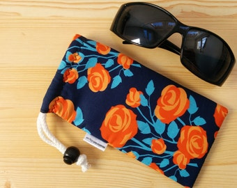 Glasses case,sunglasses case,floral pouch,canvas case,quilted glasses case,sunglasses cover,glasses bag,glasses soft case,orange and blue