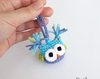 Cute Gifts For Friends, Funny Keychains, Cute Gift Ideas For Boys Owl Keychain Cool Keyring Amigurumi Owl Ornament Cute Bag Charm Blue Green