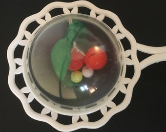 1950s Baby Rattle with Bead and Ribbon Berries