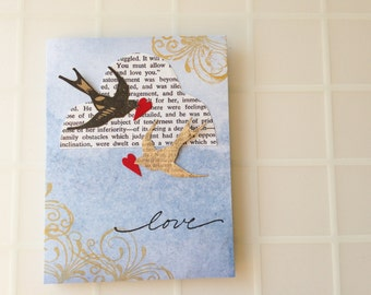 Handmade Card - Birds - Cloud - I Love You - Wedding - Engagement - Anniversary - Valentine's Day - one of a kind greeting card