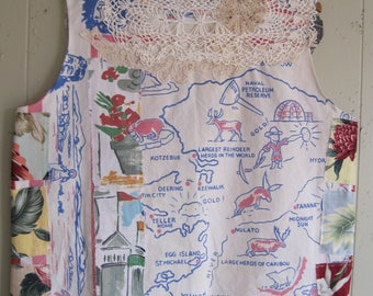 my bonny vintage state tablecloth & linens PATCHWORK COUTURE - Random Scraps of Fabric - Wearable Folk Art Collage Clothing