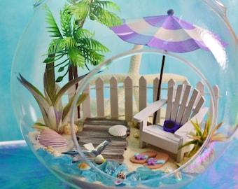 """Boardwalk Beach Terrarium Kit ~ 8"""" Air Plant Terrarium Kit ~ Seagull ~ Adirondack Chair ~ Beach Umbrella ~ Coastal Living Beach Decor ~ Gift"""