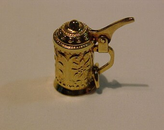 3D -10k yellow gold beer stein pendant/charm-polished -tested-