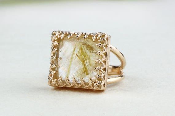 SUMMER SALE Gold rutilated quartz ringsquare ringrose gold