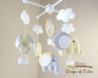 """Baby Mobile - Baby Crib Mobile - Hot Air Balloons and Elephants Clouds Mobile """"Up in the Air"""" (You Can Pick your Colors and Animals)"""