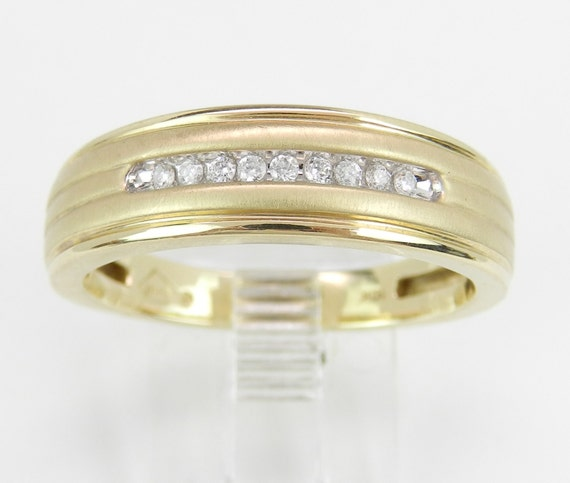 Mens Diamond Wedding Ring Anniversary Band Yellow Gold Size 10.25