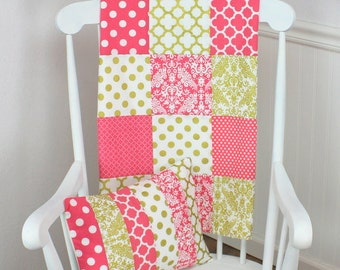 Baby Quilt, Baby Blanket, Baby Shower Gift, Patchwork Quilt, Nursery Decor, Minky Baby Blanket, Baby Girl, Coral Pink Gold White Damask