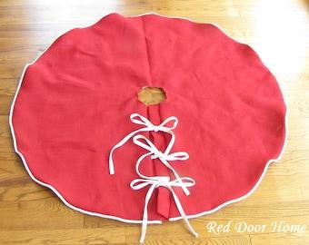 SALE Burlap Christmas Tree Skirt Red Linen Decoration