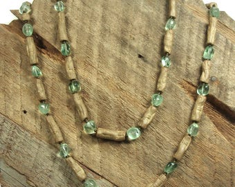NECKLACE, It's A Wrap, Polished Fluorite Chunks, Handmade Natural Stoneware Textured Tubes with Toho Seed Spacers and  Copper Toggle Closure