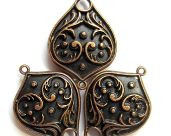 6 Antique copper connector boho medallion chandelier jewelry components 30mm x 21mm A19015 (S1)