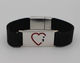 Semicolon Heart Bracelet