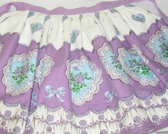 SALE - Vintage Prova Apron, 1960s or 1950s, Purple Floral, Sky Blue, British Made, Labels