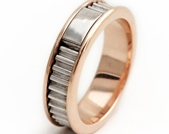14k Rose and 14k White gold ring, Mens Wedding Band, Colorful wedding rings, Hammered Wedding Rings, Gray, Ecofriendly, Pink-Flamingo-Blush