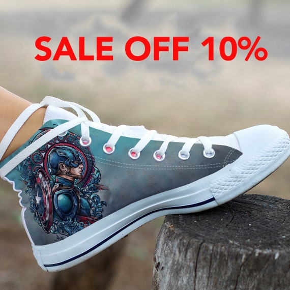 America Marvel Steve Shoes Captain Converse Captain America Top Custom  Avengers High Shoes Rogers Soldier America ... fb0f0cd790