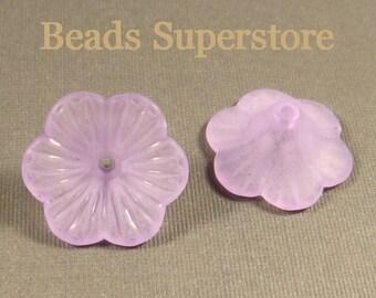 FINAL SALE 21 mm x 10 mm Purple Petunia Lucite Flower Bead - 10 pcs