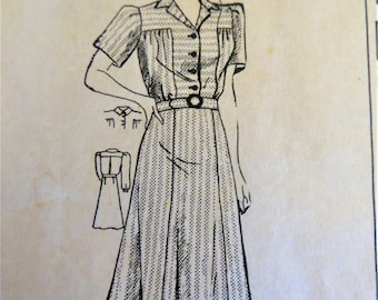 40s Shirtwaist Dress Pattern, Mail Order 2587, Yoke Dress, Long or Short Sleeves, Flared Skirt, Size Bust 42 inches, Hips 45 inches