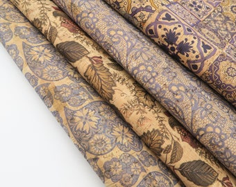 Portugal cork fabric 68*50cm/26.7*19.6inch Navy blue Portuguese traditional tiles Natural Cork leather Vegan fabric