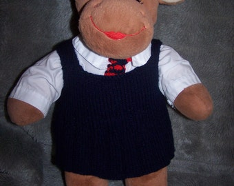 Hand Knitted School Pinafore with matching tie to fit Build a Bear animals