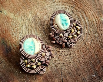 Small stud soutache earrings,brown earrings,statement earrings