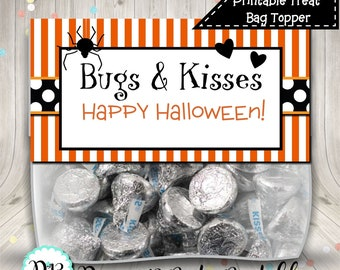 Halloween Bugs and Kisses Treat Bag Topper Digital Printable INSTANT DOWNLOAD