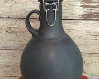 Ceramic Beer Growlers with swing-top lid - 64 oz.  Matte Blue