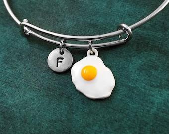 Egg Bracelet Fried Egg Bangle Sunny Side Up Egg Charm Bracelet Initial Bracelet Pendant Expandable Bracelet Adjustable Personalized Gift