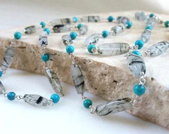 Long Gemstone Sterling Silver Necklace 28 inch Turquoise Rotile Quartz Beaded Boho Layering Chain Wrap Bracelet Fine Jewelry Life Bijou