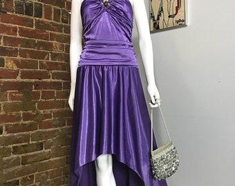 Prom Dress, High Low Dress, Purple Prom Dress, Purple Dress, Evening Dress, Sequin Dress, Vintage Prom Dress, 90s Prom Dress, Asymmetrical