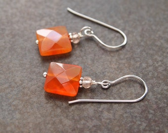 Topaz and Carnelian Earrings, Green Onyx and Carnelian, Affordable gift, Carnelian Earrings, Topaz Earrings