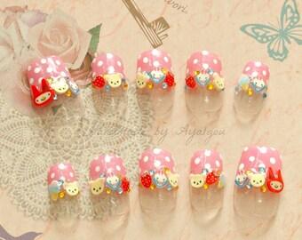 Nails, Japanese 3D nail, pastel nail, bunny, kawaii nail, deco nail, press on nail, glue on nail, false nail, sweet lolita, lolita acecssory