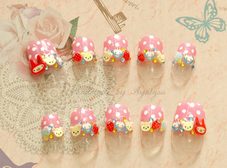 Nails Japanese 3D nail pastel nail bunny kawaii nail deco